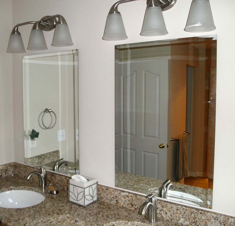 custom beveled mirrors above vanity