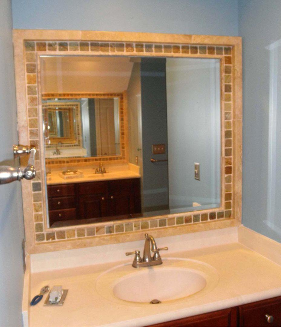 custom mirror above vanity