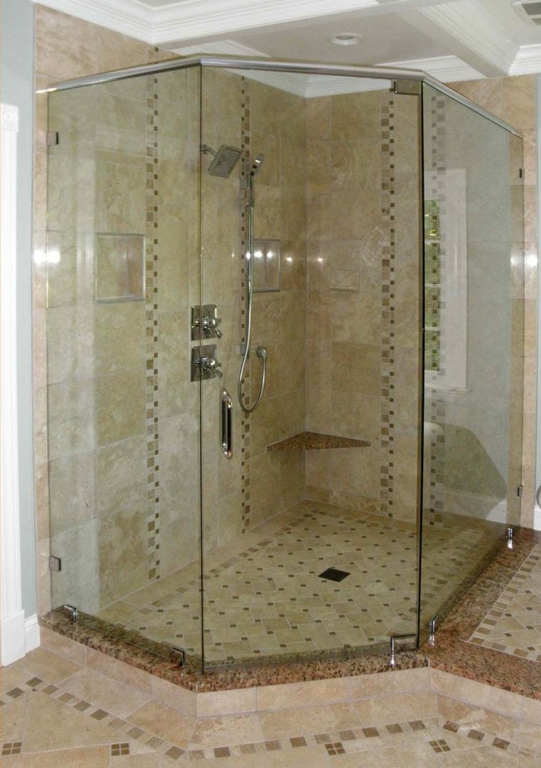 custom glass neo-angle shower enclosure with header bar with clamps