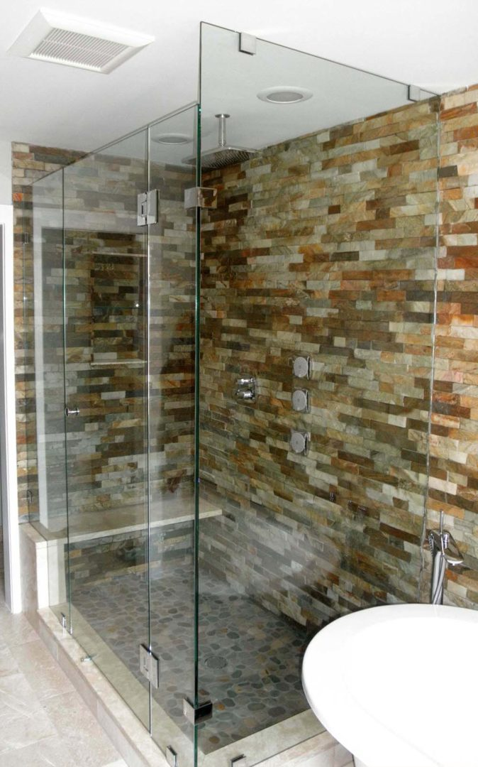 custom glass 90 degree shower enclosure with clamps