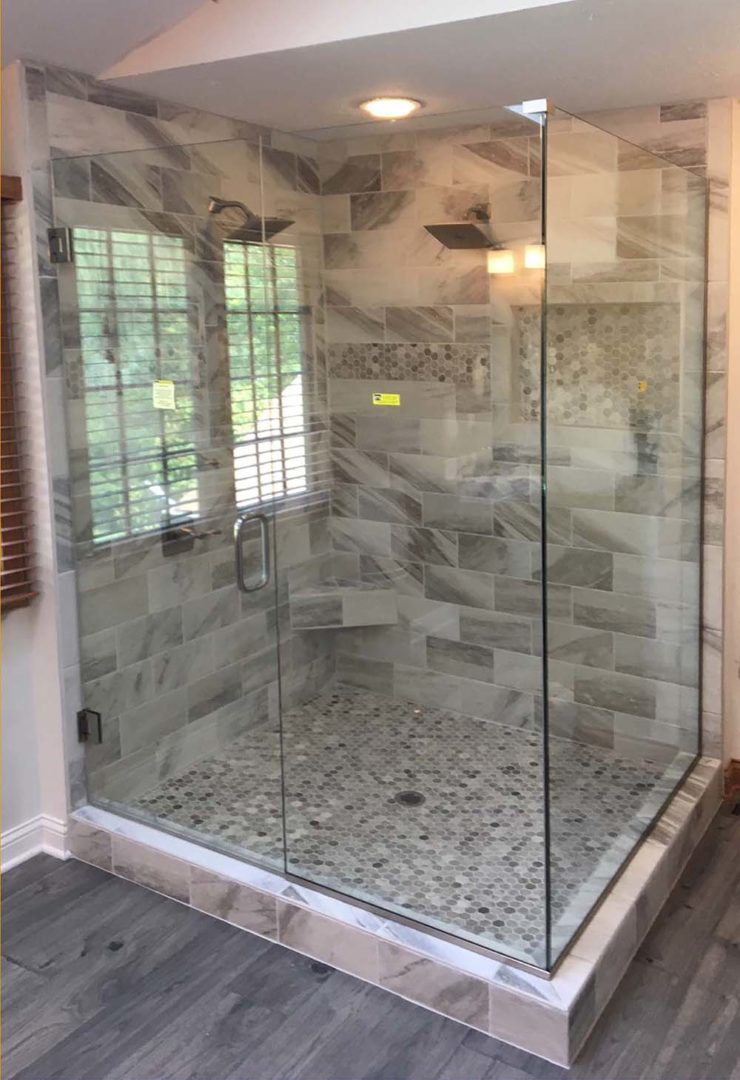 custom glass 90 degree shower enclosure with u channel