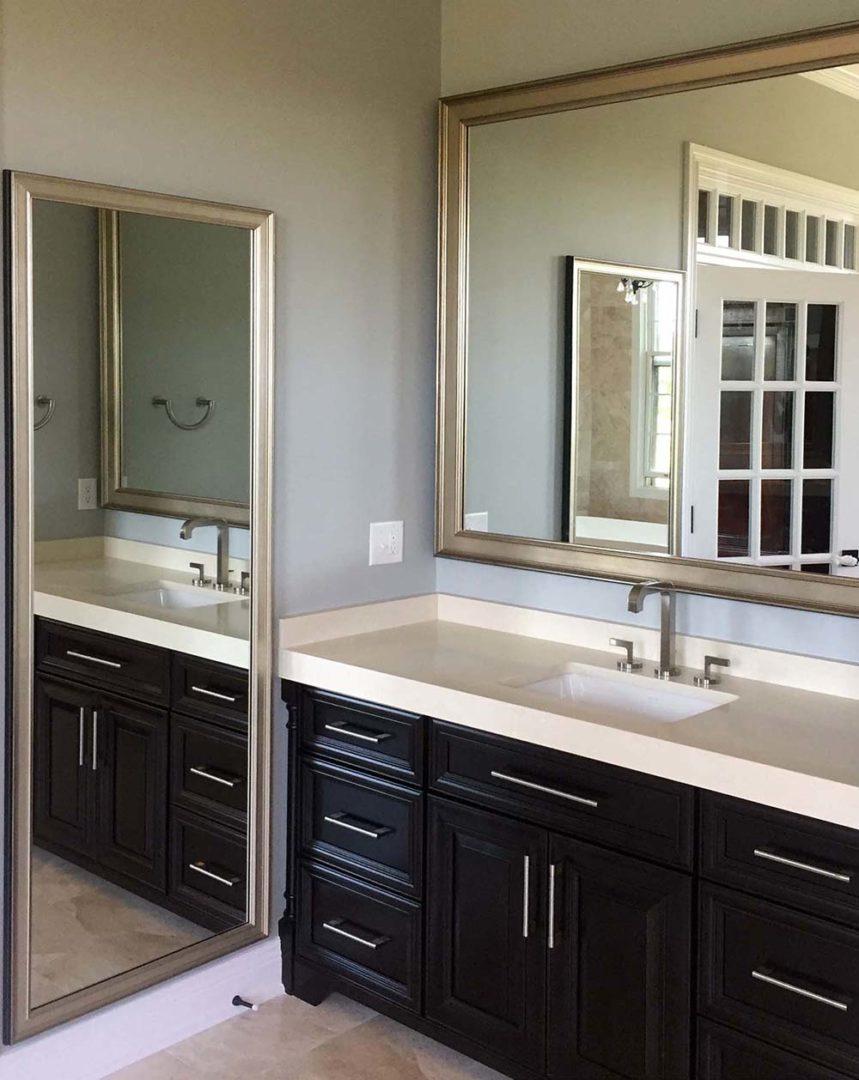 bathrooom mirrors in custom frames