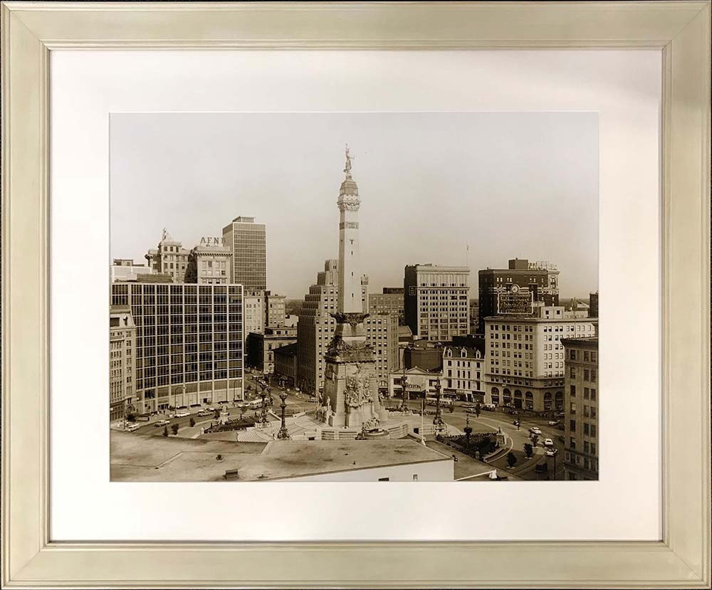 photograph of Indianapolis circle in custom frame
