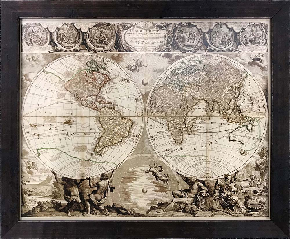 world map in custom frame