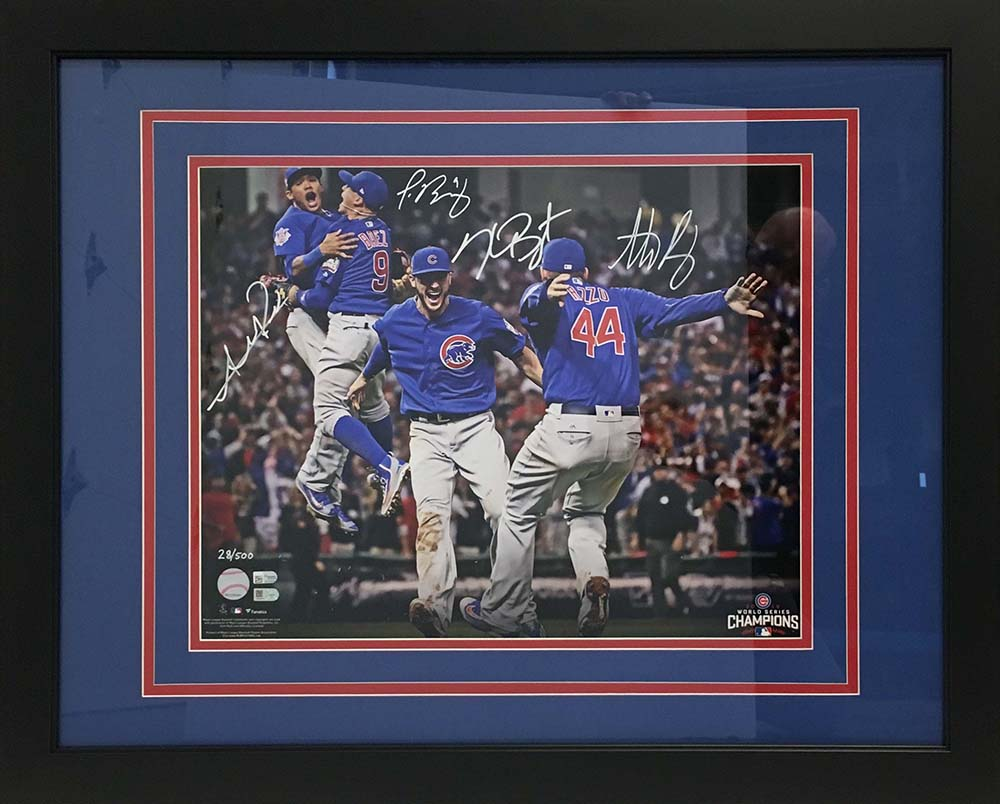 Chicago Cubs memorabilia in custom frame