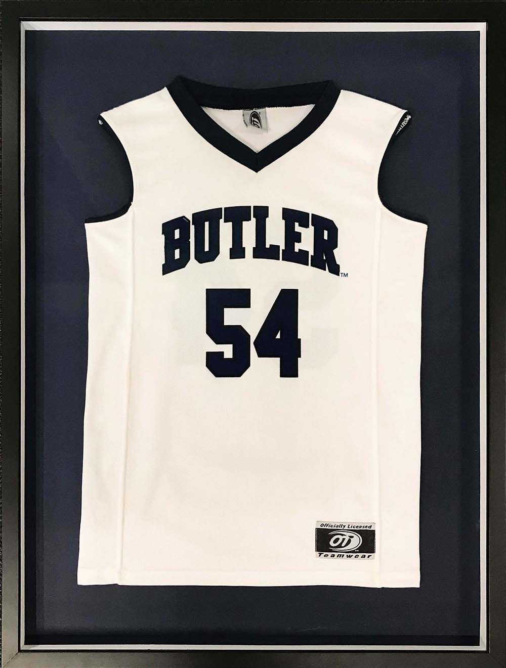 Butler Bulldogs basketball jersey in custom frame