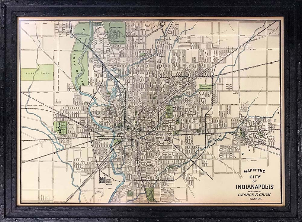 map of Indianapolis in custom frame