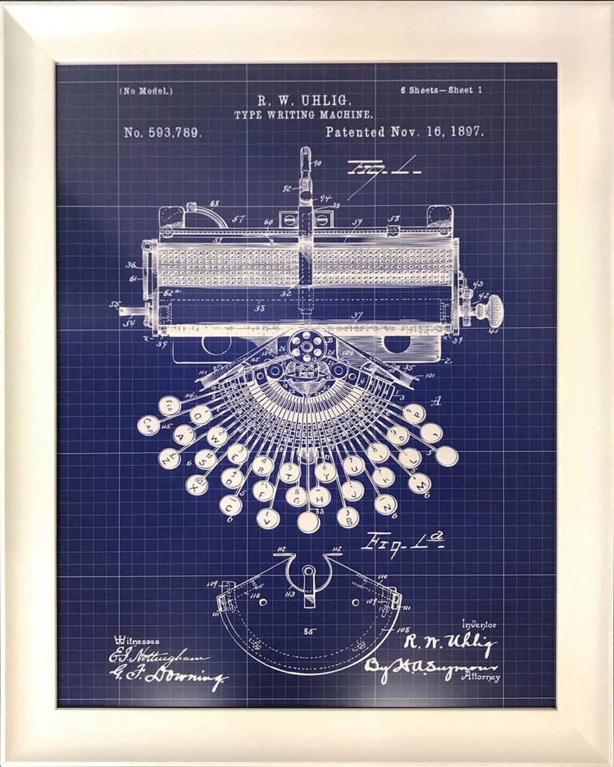 typewriter blueprint in custom frame