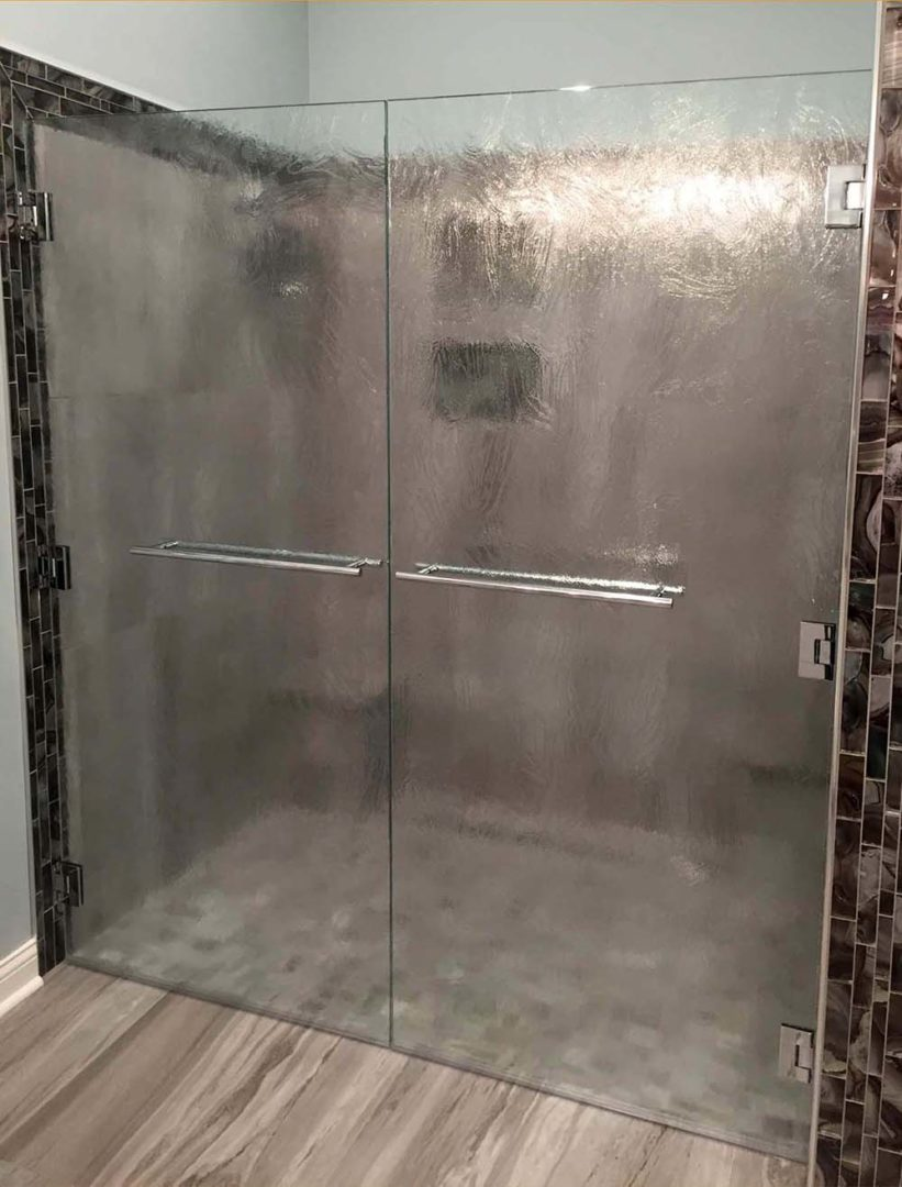 custom glass french door shower enclosure