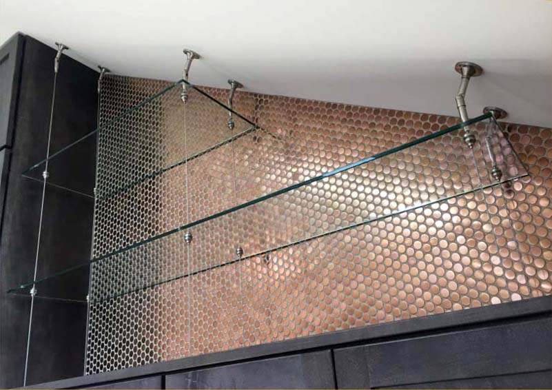 custom glass shelves with cable system