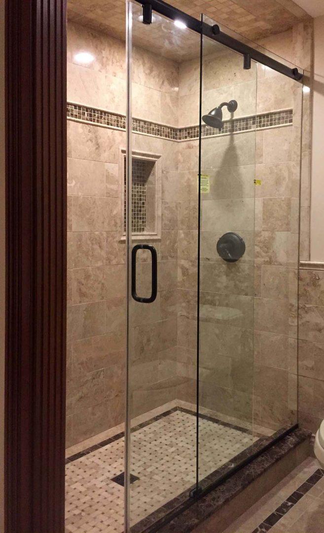 custom glass hydro-slide shower enclosure