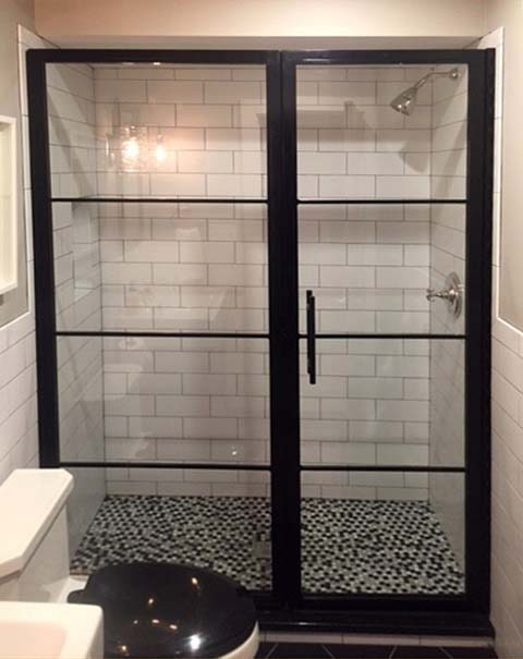 custom glass industrial shower enclosure