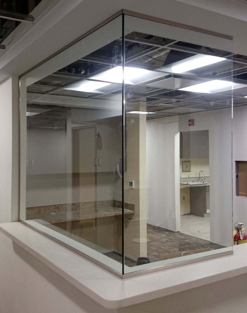 custom glass 90 degree partition in office