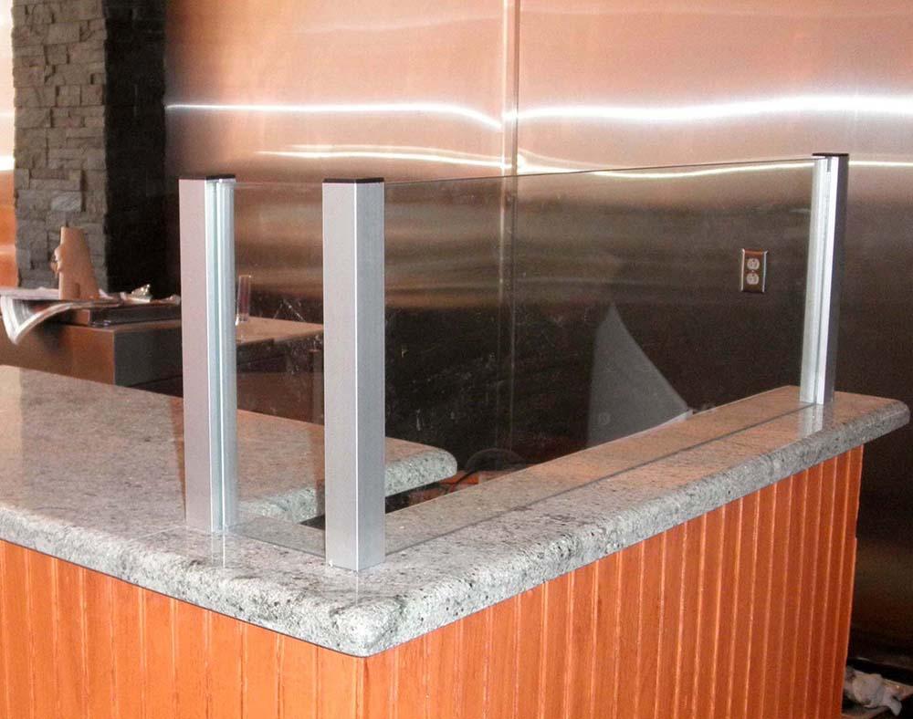 custom glass 90 degree partition in restaurant