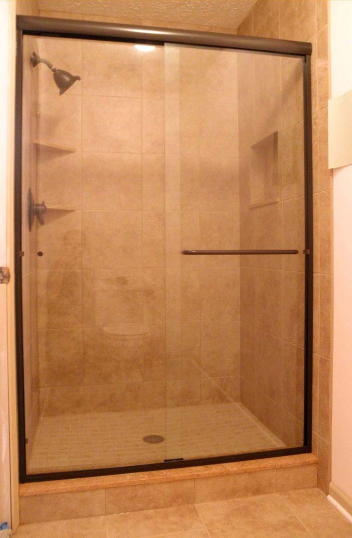 custom glass bypass shower enclosure