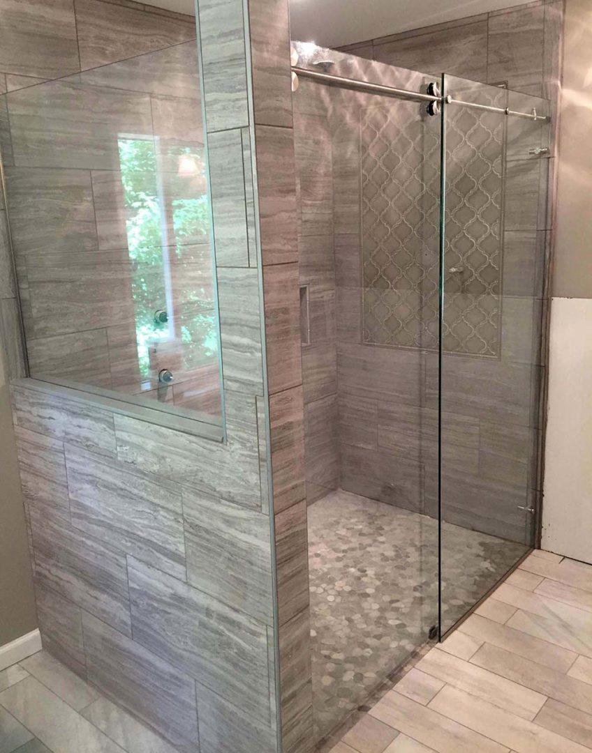 custom glass 90 degree skyline shower enclosure on kneewall