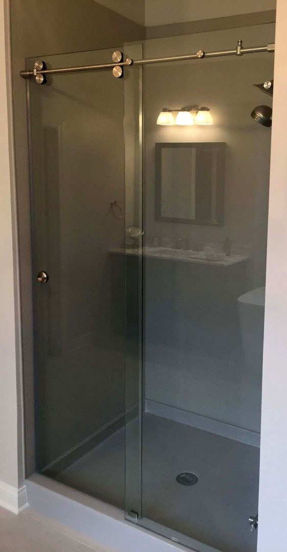 custom glass skyline shower enclosure