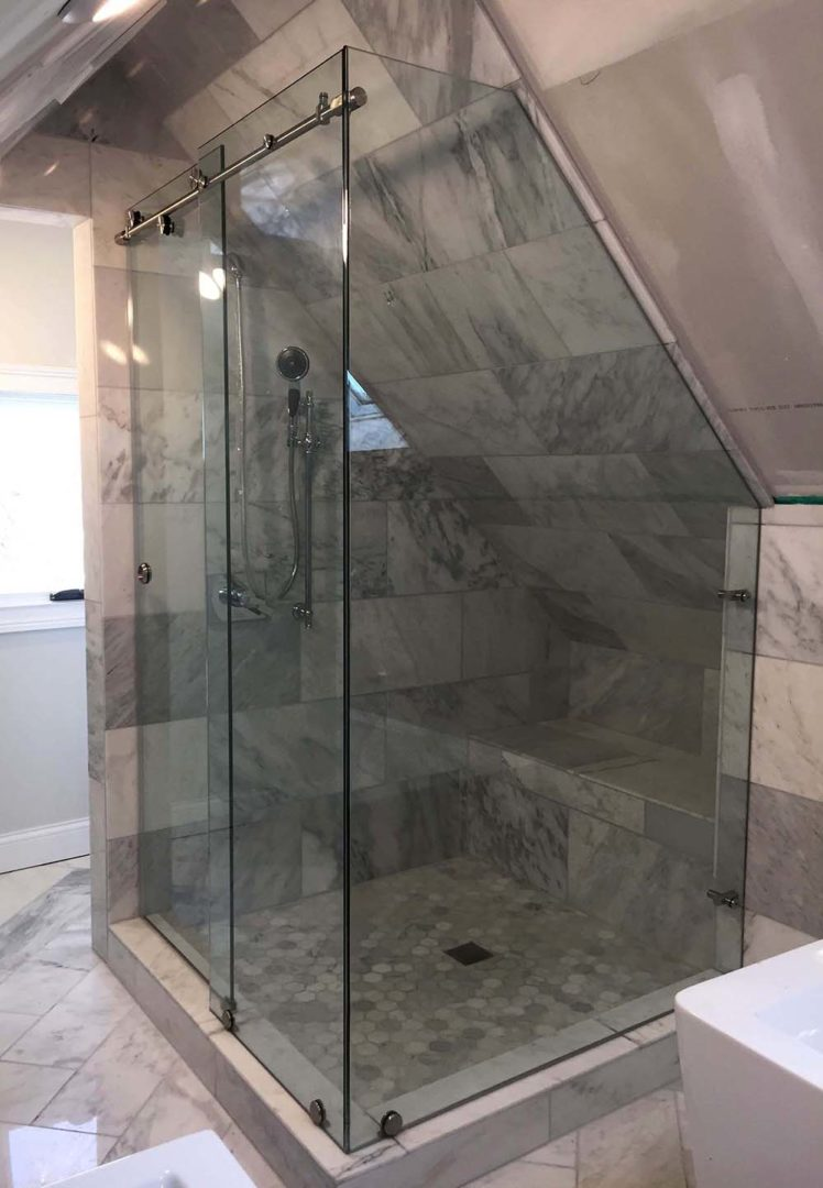 custom glass 90 degree skyline shower enclosure