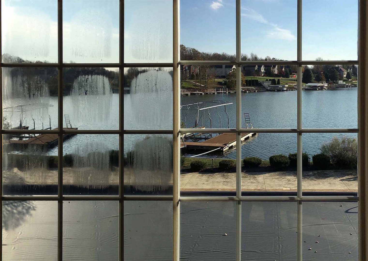before and after insulated glass window replacement