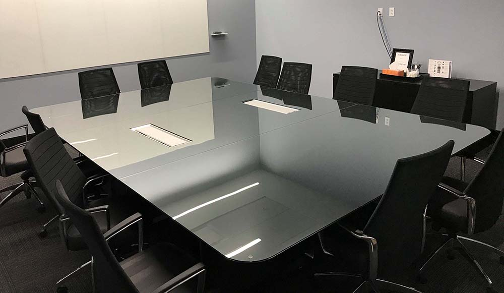 custom glass conference table top