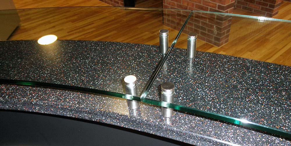 custom glass table top on stand offs